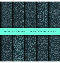 Outline abstract seamless pattern set vector