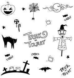 Scary halloween in doodle art vector