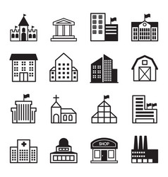 basic building icons set vector image