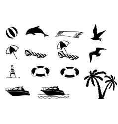 Beach icon collection vector image vector image