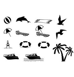 Beach icon collection vector