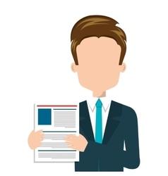 Businessman with curriculum vitae vector