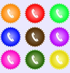 Call icon sign A set of nine different colored vector image