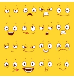 Cartoon faces with different expressions vector image vector image