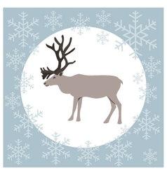 Christmas card reindeer blue vector