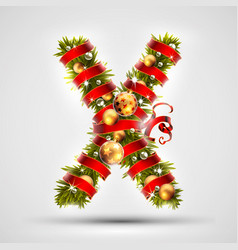 christmas font letter x of christmas tree vector image vector image