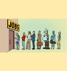 competition of people and robots for jobs vector image