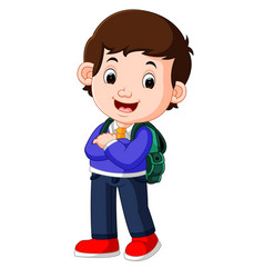 cute boy on his way to school vector image
