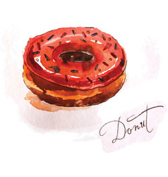 Donut of red color vector