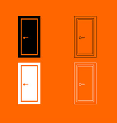 door black and white set icon vector image vector image