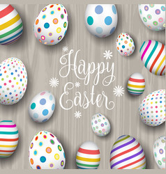 easter eggs on wood background vector image