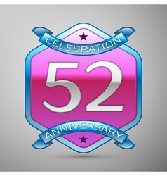 Fifty two years anniversary celebration silver vector