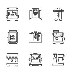 Flat black line coffee machines icons vector image