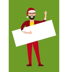 flat style young Santa claus holding blank sign vector image vector image