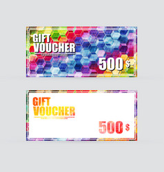 Gift voucher colorful vector
