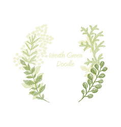 Green scribble branch frame card template vector