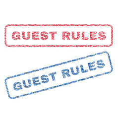 Guest rules textile stamps vector