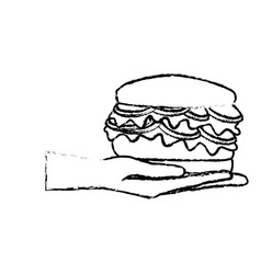 Hand holding burger delicious unhealthy fast food vector