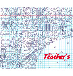 happy teachers day background greeting card vector image vector image