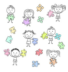Kids playing with jigsaw puzzle vector image vector image