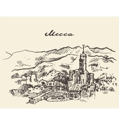 Mecca saudi arabia skyline drawn sketch vector