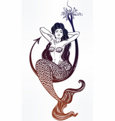 mermaid girl sitting on fishing hook artwork vector image vector image