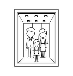 Monochrome contour with open building elevator vector