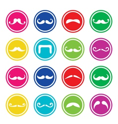Moustache or mustache round colorful icons vector image vector image