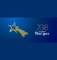 new year 2018 gold glitter holiday shooting star vector image vector image