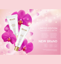 Orchid essence cosmetics products vector