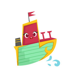 pink green and yellow cute girly toy wooden ship vector image vector image