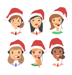 portrait of happy smiling female customer support vector image
