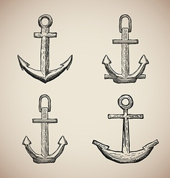 Set of Vintage Marine Anchors isolated engrave vector image
