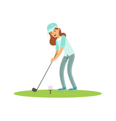 Smiling woman golfer in a light blue shirt and cap vector