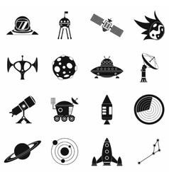 Space simple icons set vector image vector image