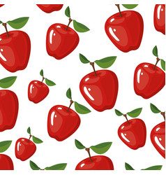 white background with realistic pattern of apples vector image