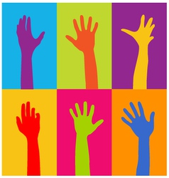 hands of different colors vector image