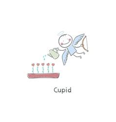 Cupid Watering Plants of Hearts vector image