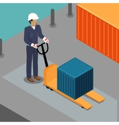 Warehouse worker with container on forklift vector