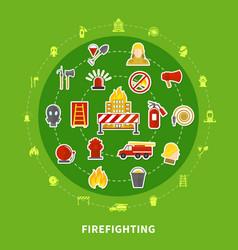 Firefighting flat concept vector