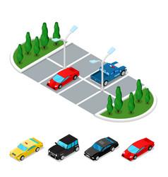 Isometric car parking area city transportation vector