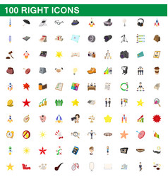 100 right icons set cartoon style vector image