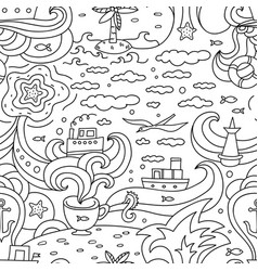 crazy seamless pattern with sea elements - vector image