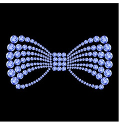 Blue gemstone bow composition vector