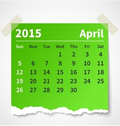 Calendar april 2015 colorful torn paper vector