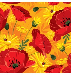 Seamless with with poppies vector