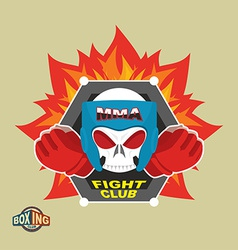 Mixed Martial Arts Labels Skull boxing helmet MMA vector image