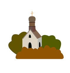 An old medieval church in a flat desi vector
