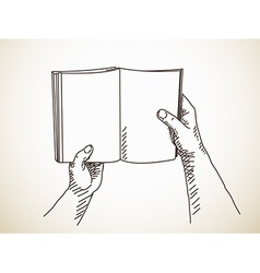 Hand holding book vector