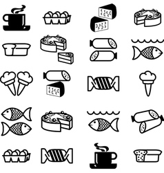 set of silhouettes of icons on the food theme vector image